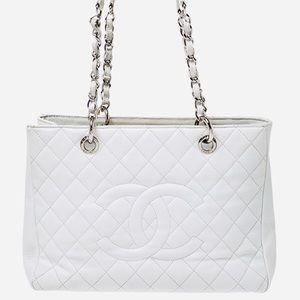 Chanel white caviar leather gst silver hardware
